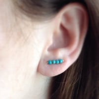 Turquoise Earrings, Boho Ear Climber, Sterling Silver Ear Cuff, Modern Earrings, Turquoise Ear Climber, Gift Idea
