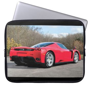 Cool red sports car laptop computer sleeves