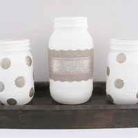 Metallic Mason Jars, Shabby Chic Decor, Distressed Painted Jars, Set of 3 Jars, Rustic Decor, Rustic Home Decor Set, Country, Farmhouse Set