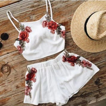LMFON Day-First? White Floral Embroidered Two Piece Dress