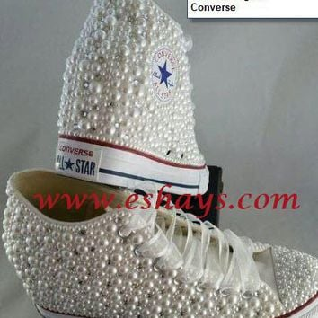 Pearl Crystal Wedge Converse Wedding Prom Sneakers 19a75edc97