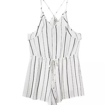 Strappy Striped Lace-up Romper
