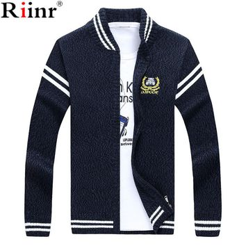 New Arrival Sweater Men Stand Collar Pull Home Long Sleeve Casual Knitted Sweater Man Cardigan High Quality