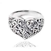 925 Oxidized Sterling Silver Detailed Filigree Heart Ring - Nickle Free Size 8