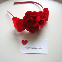 Handmade ,felt flowers ,red, headband
