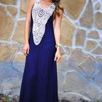 Crazy In Lace Maxi Dress: Navy | Hope's