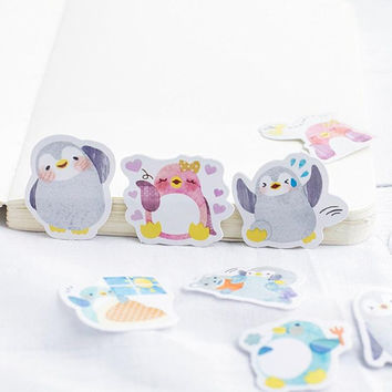 Penguin kid sticker Dancing playing questioning penguin sticker Cute loving hide and seek penguin label sticker Penguin lover planner gift
