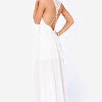 Crocheted in Heaven Ivory Lace Maxi Dress