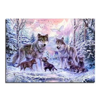 wolf 20X30 Diy Diamond embroidery cross stitch diamond painting diamond mosaic kits picture rhinestones home Decor zx