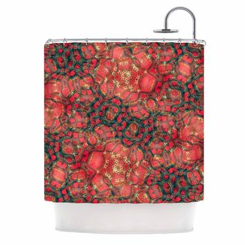 "Justyna Jaszke ""Red Mandala Dragon"" Red Black Abstract Pattern Digital Mixed Media Shower Curtain"