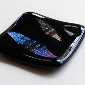 Small Decorative Fused Glass Plate, Black with Gold and Blue Dichro Leaf Design, Fused Glass Plate, Ring Dish, Dichroic Glass, Small Dish