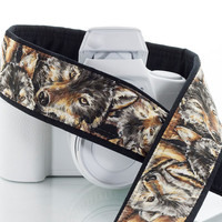 Wolf Camera Strap, dSLR, Wolves, Canon Nikon Camera Strap, Mens, Womens, Pocket, Camera Neck Strap, SLR, Mirrorless, 218