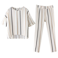Multicolor Stripe Short Sleeve Top And High Waist Pants
