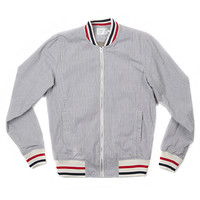 VARSITY JACKET-GREY STRIPE CORDED COTTON