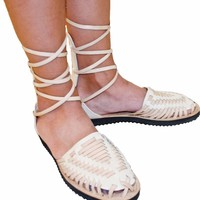 Women's Beige Gladiator Woven Leather Huarache Sandals