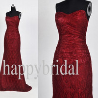 Long Red Lace Wedding Dresses Lovely Sweetheart Evening Dresses Wedding Occasions 2014 High Quality
