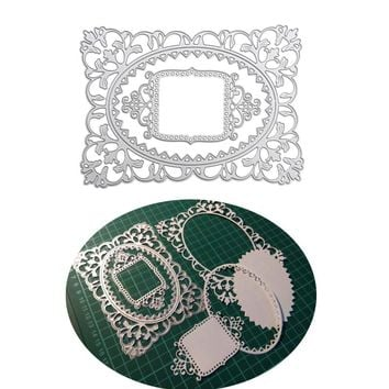 Hollow Frame Flower Border Dies Cutting Dies Stencils for DIY Scrapbooking Birthday Photo Album Decorative Embossing Paper Cards