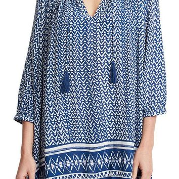 Olivaceous Navy Printed Tunic Coverup