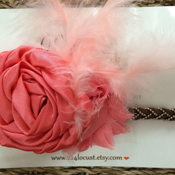 Baby Headband, Peach, Photo Prop, Photography Prop, Baby, Girl, Headband, Hair Accessory, Headband, Flower, Flower Headband