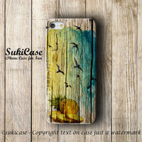 IPHONE 5 CASE WOOD Water Color Pineapple Flying Bird Beach Summer iPhone 5s Case iPhone 4 Case iPhone Cases iPhone 5c iPhone 4s Case