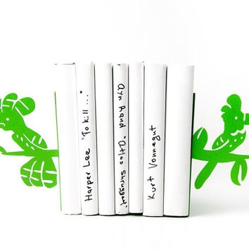 Bookends Parrots Green laser cut metal bookends strong enough to hold your books