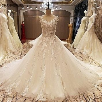 LS70788 elegant lace wedding dress ball gown crystal wedding gowns with long tail robe de mariage 2017 real photos