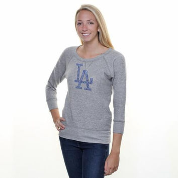 L.A. Dodgers  Ladies Tri-Blend Cap Logo French Terry Crew Sweatshirt - Gray