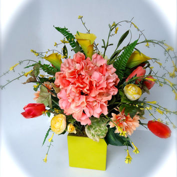 Floral Table Centerpiece Peach And Yellow Floral Centerpiece  Silk Floral  Centerpiece   Hydrangea Floral