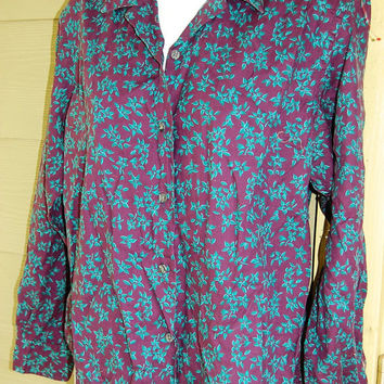 Vintage L.L. Bean Purple Floral Ditsy Print Blouse Shirt Top Size 12