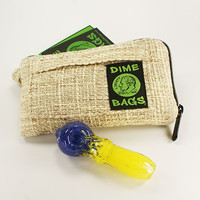 "Tan 7"" Dime Bags Pouch with Elev8 Glass Frit Spoon"