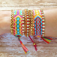OOAK Colorful Friendship Bracelet with Rhinestones and Gold Plated Chain