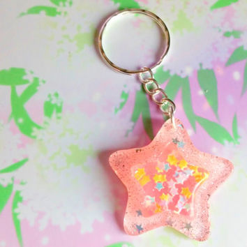 Kawaii sparkle stars keychain - pastel pink - Fairy kei - resin accessory - sweet lolita - pastel goth - cute charm