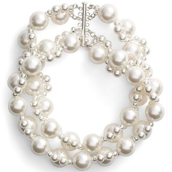 Women's Simone Rocha Double Strand Beaded Necklace - Pearl