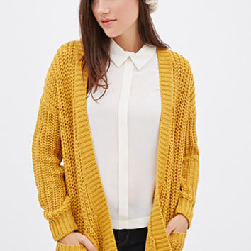 FOREVER 21 Purl Knit Cardigan Mustard