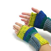 Soft wristwarmers, crocheted fingerless gloves, armwarmers in blue and yellow, office gloves, warm wool mittens, driving gloves