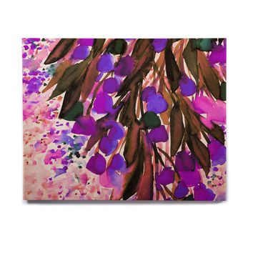 "Ebi Emporium ""Botanical Regency, Purple"" Pink Black Birchwood Wall Art"