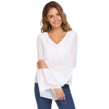 White Solid Loose V-neck Long Bell Sleeves Chiffon Blouse