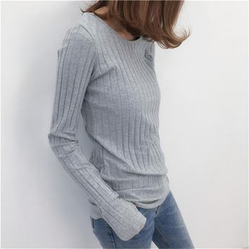 Basic Cotton Ribbed Tops Tees With Thumb Hole Women Long Sleeve Tee Shirts Essential Layering T Shirt Femme