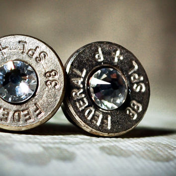 Bullet Stud Earrings -Gunpowder and Glitz- Silver and Crystal