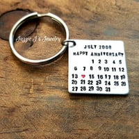Hand Stamped Calendar, Save The Date Keychain or Necklace, Personalized Calendar, Anniversary Gift, New Baby Gift, Wedding Gift, Unisex Gift
