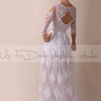 Lace  Wedding dress / Portrait back  /Recepion/ long /mаxi  dress/ Bridal Gown 3/4 sleeve