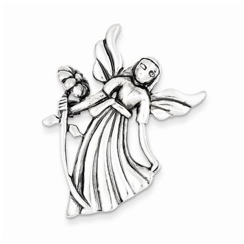 Sterling Silver Polish & Antique Angel with Flower Pendant & Pin
