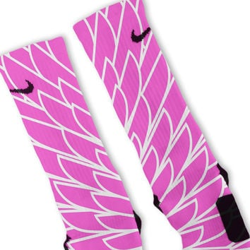 Wings Pink 10 Custom Nike Elite Socks