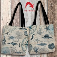 Ocean Life Canvas Tote Bag