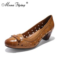 Women Genuine Leather Pumps Shoes 2017 Brand New Women Med Heels Dress Shoes for Women Office Ladies Big Size Shoes 6022-1