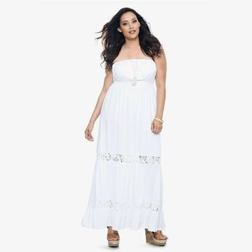 Torrid Plus Size White Crochet Trim Challis Maxi Dress