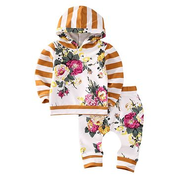 2pcs Girls Hooded Sweatshirt Tops Floral Pants Baby Take Home Outfits Costume Toddler Infant Girl Flower Print Warm Clothing Set