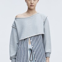 Alexander Wang STRIPE COMBO PULLOVER SHIRT | Official Site