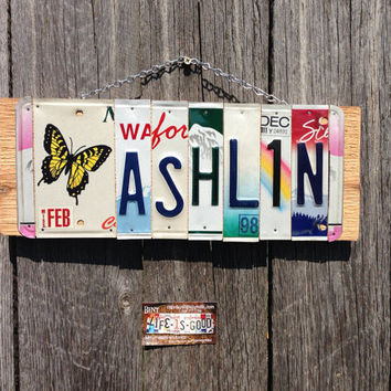 CUSTOM ORDER. GIRLS. Recycled. License Plate. Room Decor. Sign. Wall hanging.Custom Name. Handmade.Family name. door hanging.