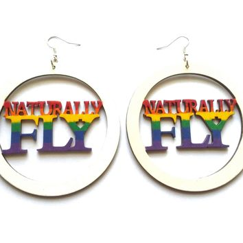 Naturally fly hand painted rainbow color wood earrings